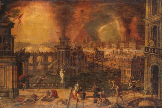 Fall of Troy painting