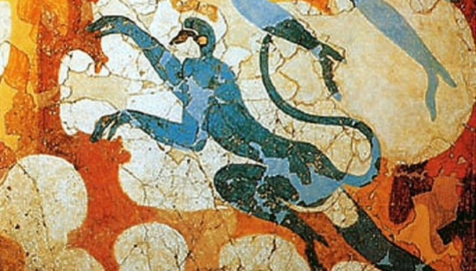 Mycenaean fresco blue monkeys