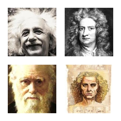 Questioning Minds - Einstein, Newton, Darwin and DaVinci.... notic any common feature? (hint - the hair)