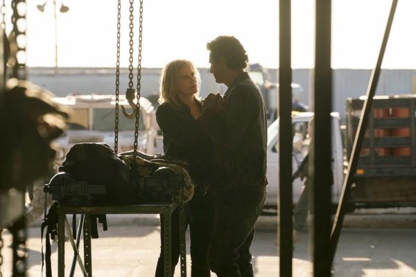 Kim Dickens as Madison Clark, Cliff Curtis as Travis Manawa- Fear the Walking Dead _ Season 3, Episode 1 - Photo Credit: Michael Desmond/AMC
