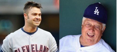 Cleveland Indians outfielder Nick Swisher, left, and former Dodgers manager Tommy Lasorda, right, will receive the Bob Feller Act of Valor award Nov. 5 in Washington, D.C.