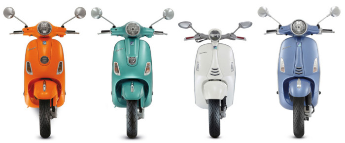 Vespa Style: the 2009 LX, the 2013 LX 3V, the 2013 946, the 2014 Primavera. (Scale is approximate.)