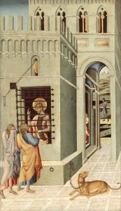 A 15th Century depiction of John the Baptist being visited in prison by two disciples.