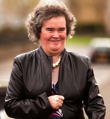BLACKBURN, UNITED KINGDOM - APRIL 21:  Susan Boyle returns to her home in Blackburn, West Lothian on April 21, 2009 in Blackburn, Scotland. The 47-year-old has become a worldwide phenomenon after her rendition of the Les Miserables song 'I Dreamed a Dream' on the UK TV show 'Britain's Got Talent'.  (Photo by Jeff J Mitchell/Getty Images)