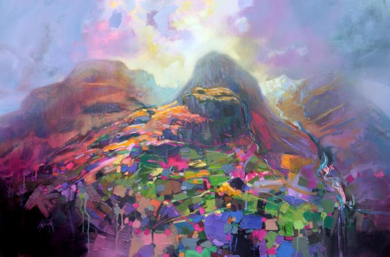 3 Sisters of Glencoe print Highlands Painting by Scott Naismith