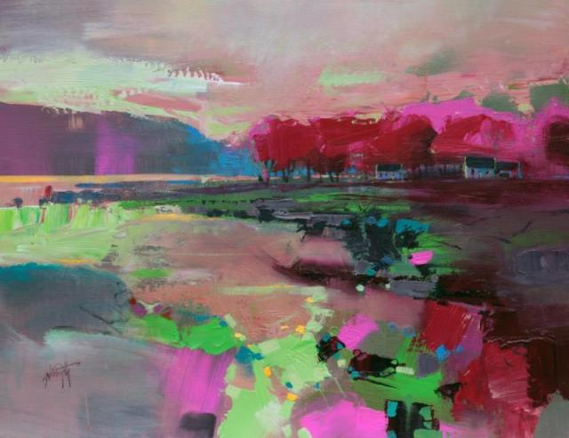 Cowal Cottages landscape acrylic painting by Scott Naismith