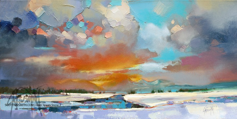 Glen Spean Snow 2. Landscape painting by Scott Naismith