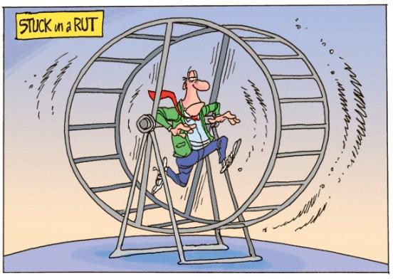 man on hamster wheel