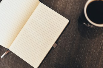 Notebook and Coffee 2 - Negative Space