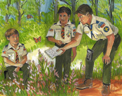 Boy Scout Image -- Butterfly hunt
