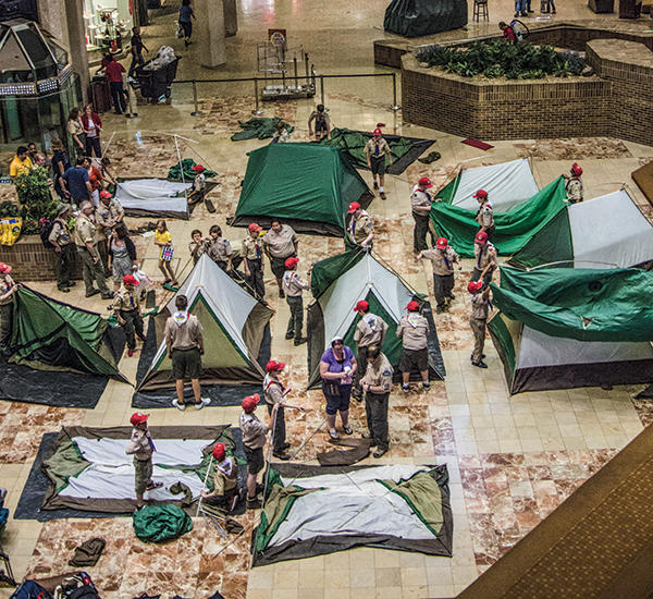 After Discovery Outpost's grand opening, Scouts pitched their tents for a campout held in the mall.