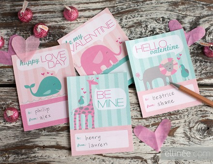 free printable Kids' Valentines from Ellinee
