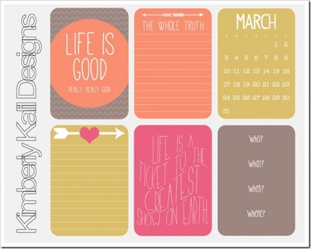 Free Project Life March 2013 Journaling Cards from This Kalil Life