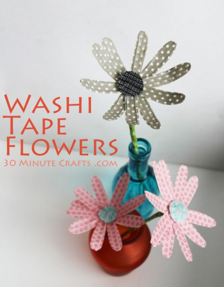 Washi-Tape-Flowers from 30 miniute crafts