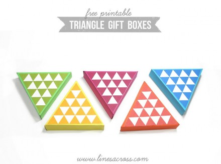 free printable triangle gift boxes from Lines across