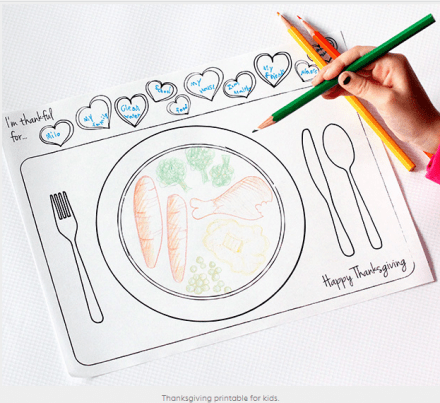Thanksgiving Freebie - Printable Thanksgiving Place Setting for Kids  from  Dabbles & Babbles