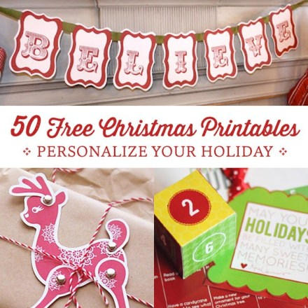 50 Free Christmas Printables - Round-up at Personal Creations