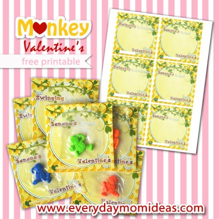 Monkey Valentine Printables from Everyday Mom Ideas