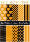 Orange & Black; Dots & Stripes   Printable Halloween Papers