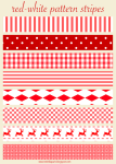 Free Printable Red & White Christmas Scrapbooking Stripes