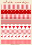 Free Printable Red & White Christmas Scrapbooking Stripes