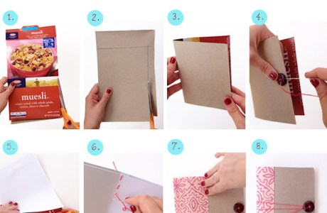 How to Make a  Mini Notebook From A Cereal Box