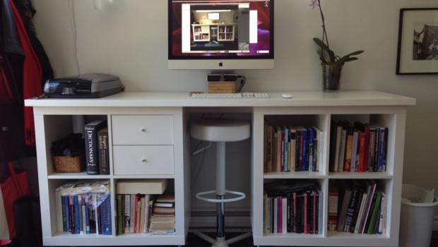 diy ikea expedit standing desk scrap booking. Black Bedroom Furniture Sets. Home Design Ideas