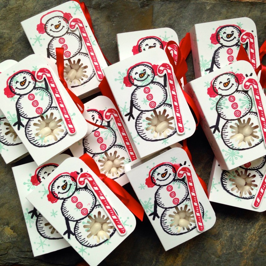 Tic Tac Snowmen using Snow Place from 2016 Holiday Stampin' Up! Catalog