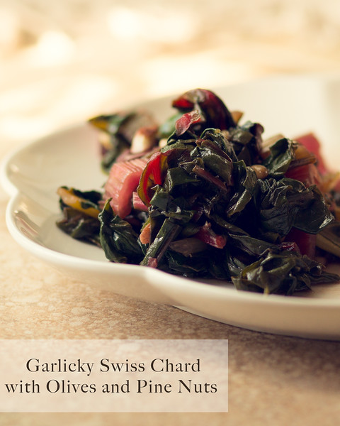 Garlicky Swiss Chard with Olives and Pine Nuts