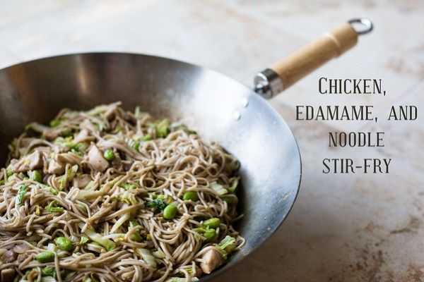 I love edamame!  Chicken, Edamame, and Noodle Stir-Fry