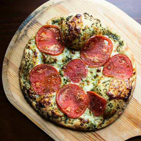 Mozzarella, Tomato and Basil Pizza | Sidewalk Shoes