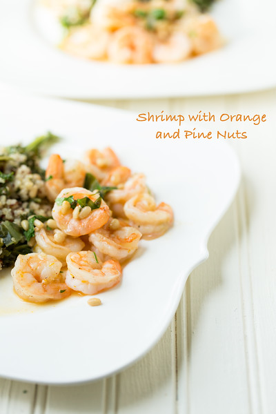 Shrimp with Orange and Pine Nuts - a few simple ingredients, a few minutes, and you have a fantastic dinner - just add a side dish!  www.sidewalkshoes.com