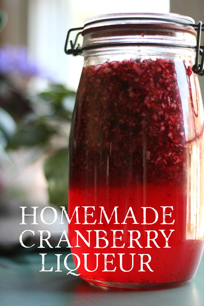Homemade Cranberry Liqueur!  So good and easy!  Time does most of the work!  Makes lovely Christmas gifts!