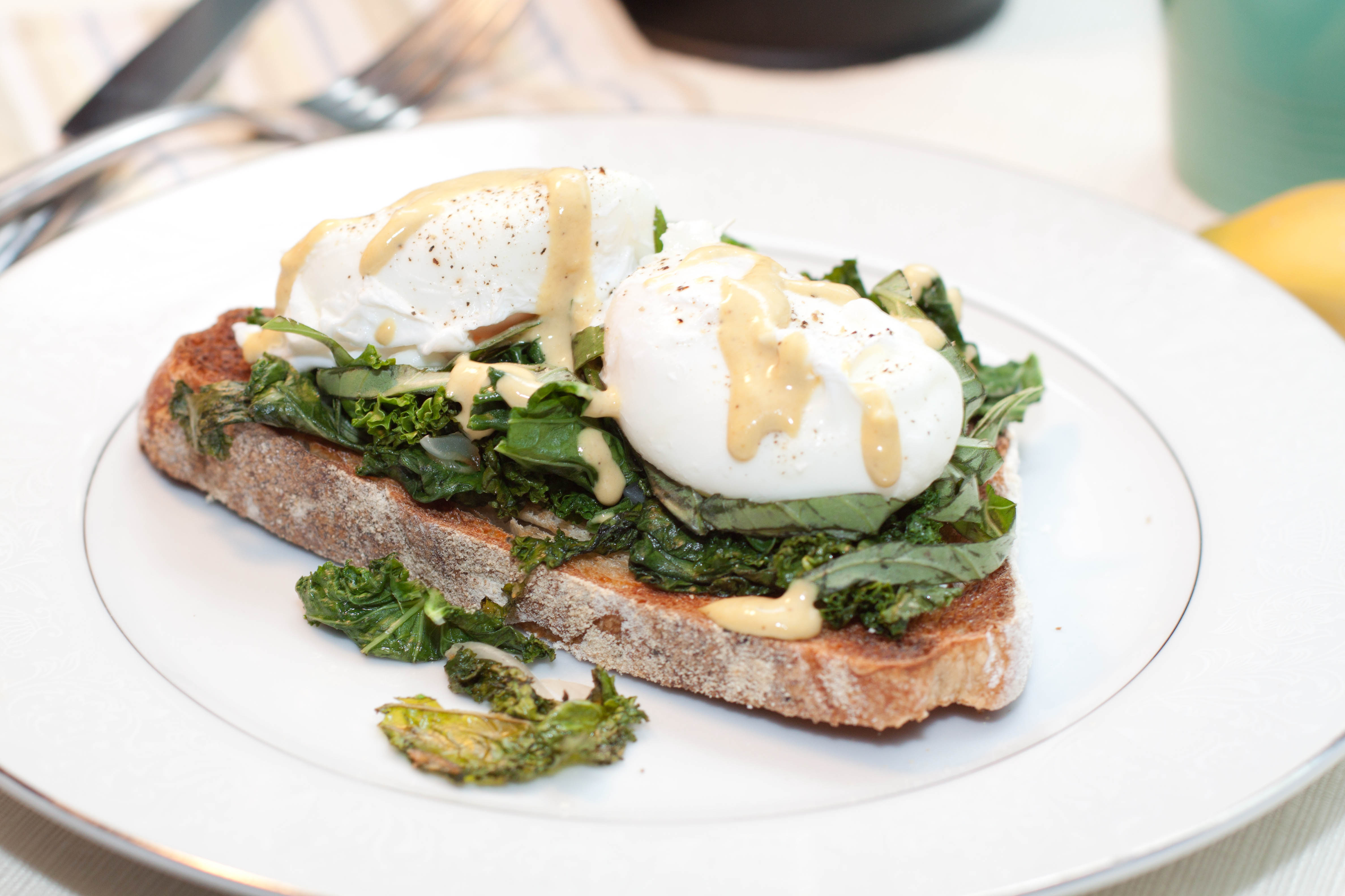 Garlic Basil Kale Poached Eggs Toast with Tahini Lemon ...