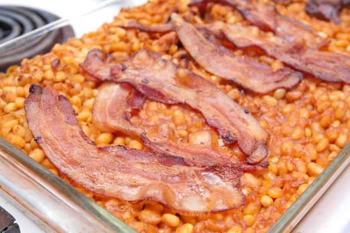 From scratch homemade baked beans and bacon.  Not for the faint of heart!