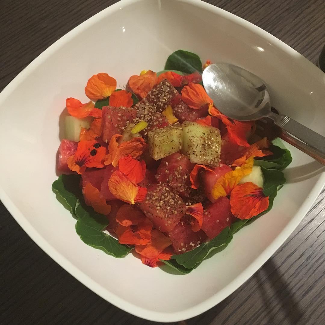 Melons, nasturtiums, Szechuan peppers, sesame, balsamic