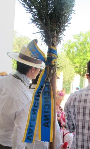 Walking staff with ribbon to show which town the rociero comes from, with some rosemary tucked in the top.