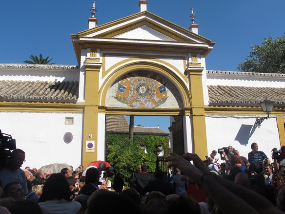 The entrance of Palacio las Duenas in Seville, typically besieged by press