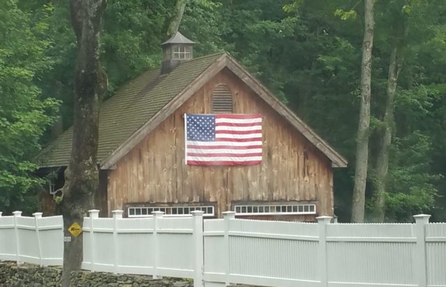 US Flag on a barn garage