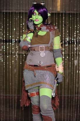 Amber cosplaying as Goblin Engineer for BlizzCon 2011