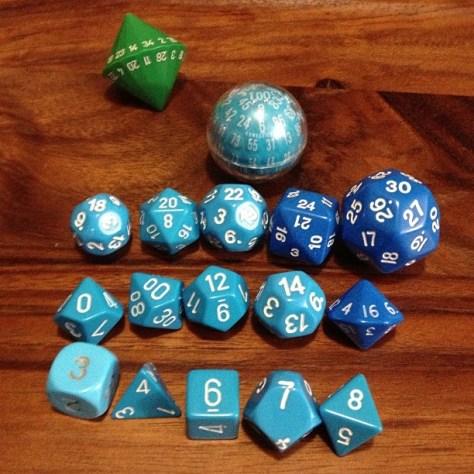 The gamer's dream: a matching dice set of d3, d4, d6, d7, d8, d10s, d12, d14, d16, d18, d20, d22, d24, d30, and d100. Go home green d34, you're drunk.