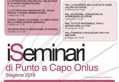 Tutti i Seminari di Punto a Capo Onlus del 2016