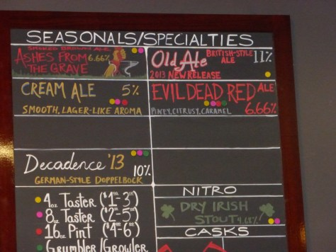 Seasonal Beers at Alesmith on October 28, 2013.