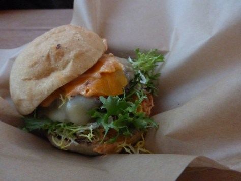 MIHO grass fed beef burger.