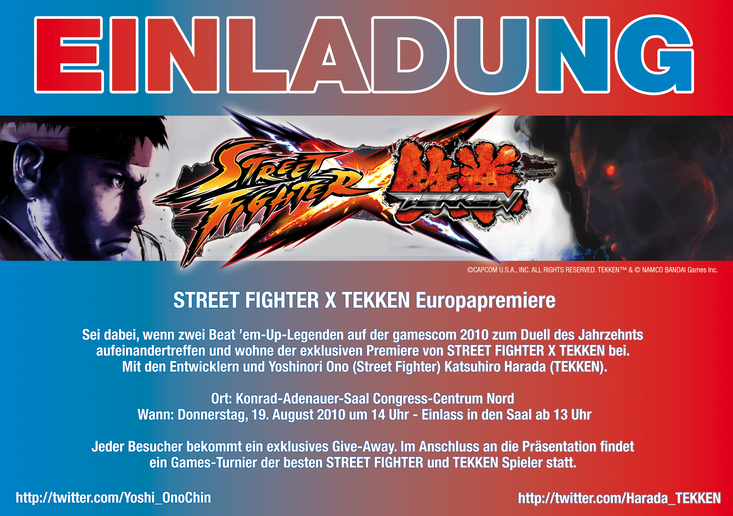 STREET FIGHTER X TEKKEN European Premiere    IPLAYWINNER   FIGHTING     Post a Comment