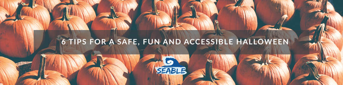 6 tips for a safe fun and accessible halloween, the title over some pumpkins