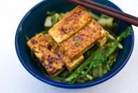 Marinated Tofu with Swiss Chard or Mizuna over Brown Rice