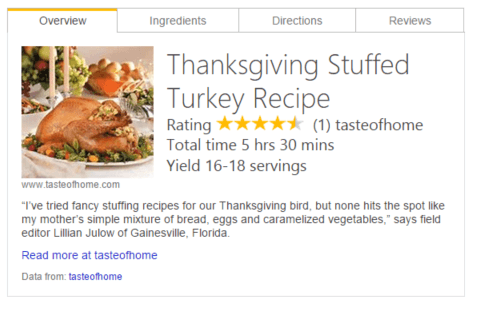 Bing thanksgiving day food card