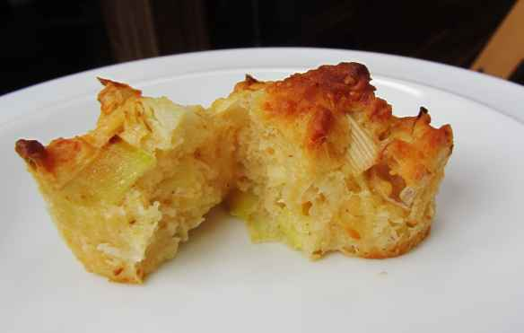 leek and cheddar muffin open