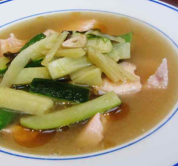 Salmon and miso soup with courgette and sugar snap peas